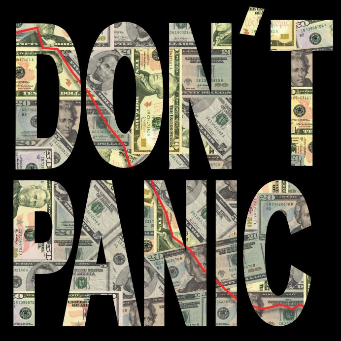 4113120 - don't panic text with downwards graph and american dollars