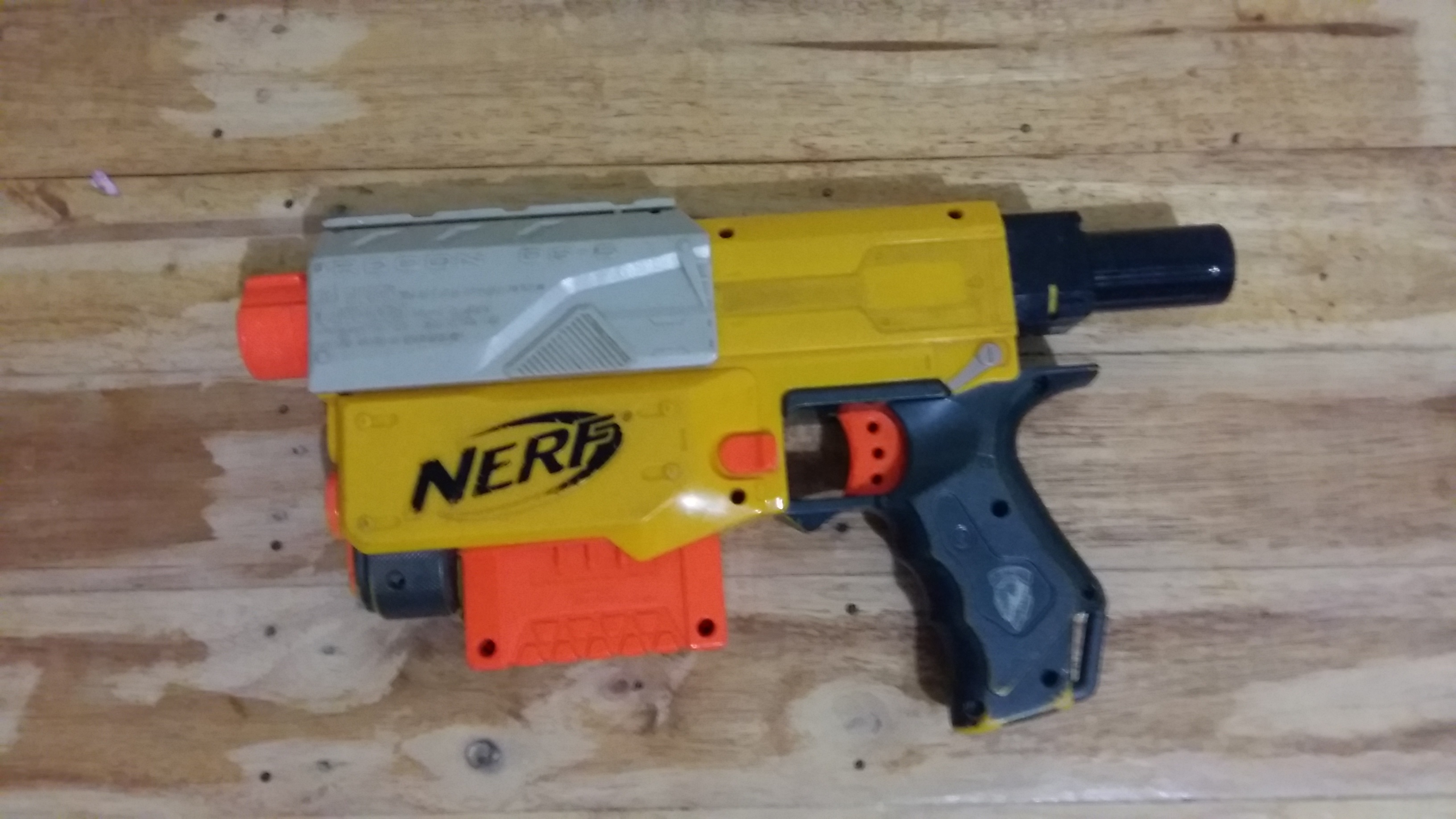 e of the oldest Nerf in my son s collection this is a modular gun I took out the stock and the long barrel and this one came out badass