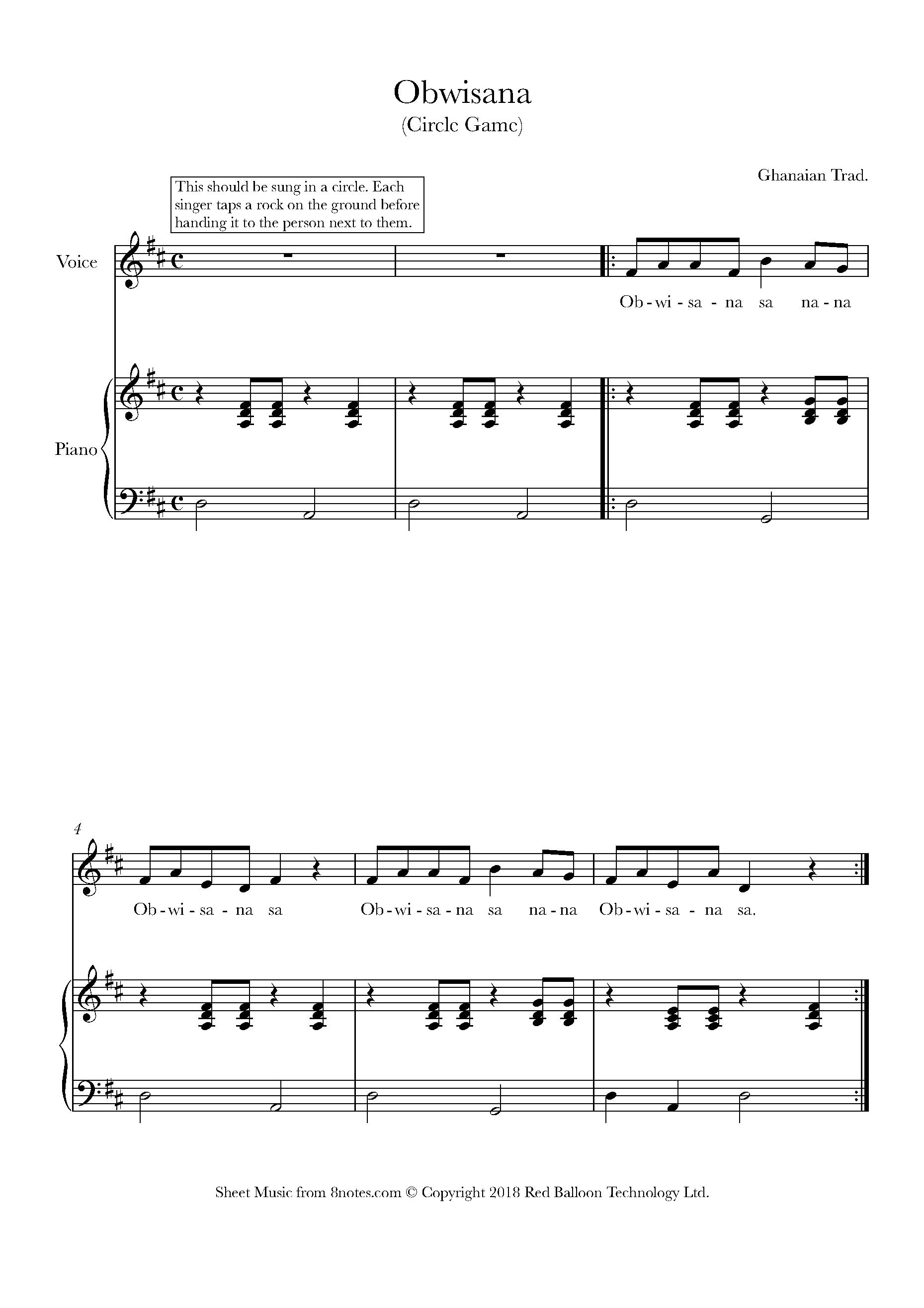 Obwisana : obwisana, Obwisana, Sheet, Music, Voice, 8notes.com