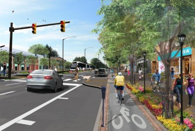A rendering of the Complete Streets concept near Nine Mile and Woodward in Ferndale.