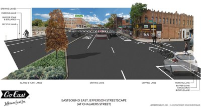 A rendering of the protected bike lanes on East Jefferson, from Jefferson East Inc.