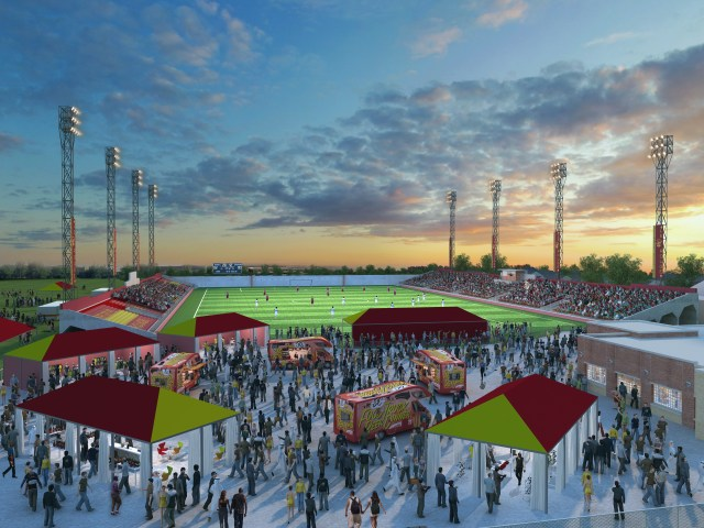A rendering of the proposed enhancements to Keyworth Stadium in Hamtramck. Detroit City FC plans to make the historic stadium its home beginning this spring.