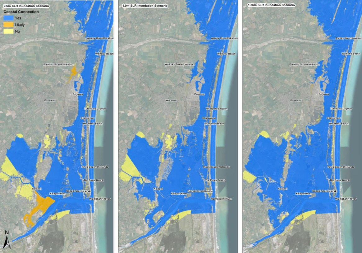 Fig. 4: A 'bathtub' snapshot of rising sea levels along the Waimakariri District coastline. Sea levels are expected to reach these heights this century. The speed and impacts will depend on how soon we stop emitting greenhouse gasses, how quickly we can drawdown the excess already in the atmosphere, and how much we can restore coastal ecosystems that once acted as a buffer to rising seas. Note: this 'bathtub' image of rising sea levels doesn't factor in what might happen to sand on steep and unstable dunes. If the sediment in them is eroded by wind and waves and deposited inland, it will temporarily raise the height of low-lying wetlands behind. If they're not eroded (unlikely), then the dunes will become barrier islands as per the images above (Image: Waimakariri District Plan Review-Natural Hazards p 60).