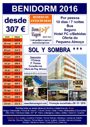 Hotel Sol y Sombra 3     BENIDORM  2017