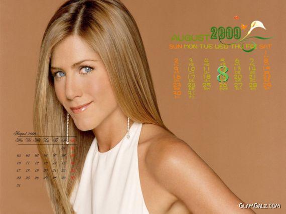 Click to Enlarge - Jennifer Aniston Desktop Calendar 2009