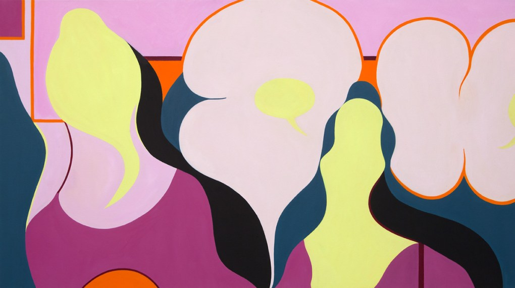 "Eggheads, 2014, óleo sobre canvas, 36"" x 64"", Amanda Church"