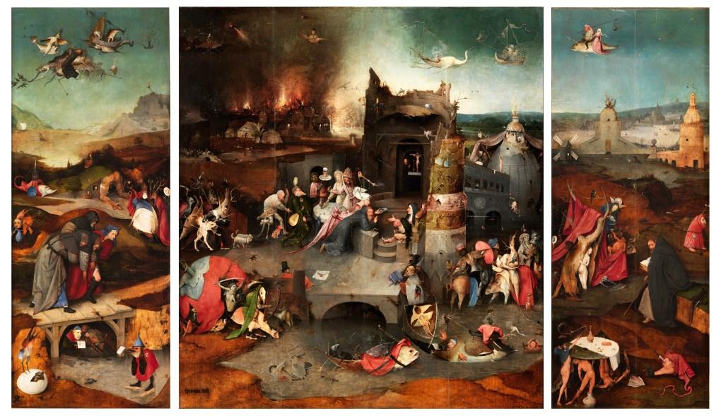 Tríptico de las tentaciones de san Antonio Abad. El Bosco. Óleo sobre tabla, 131,5 x 111,9 cm (tabla central); 131,5 x 53 cm (tablas izquierda y derecha) h. 1500-5 Lisboa, Museu Nacional de Arte Antiga