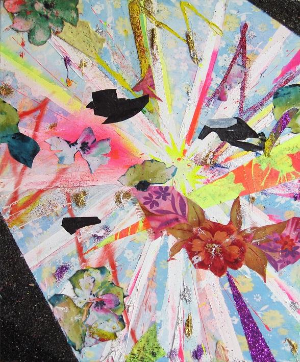 Sebastián Vallejo. light ballast, 2010, oleo, acrilico, aerosol, pigmento tranferido, plastico,  plastico,brillantina sobre lienzo lienco, 20 x24