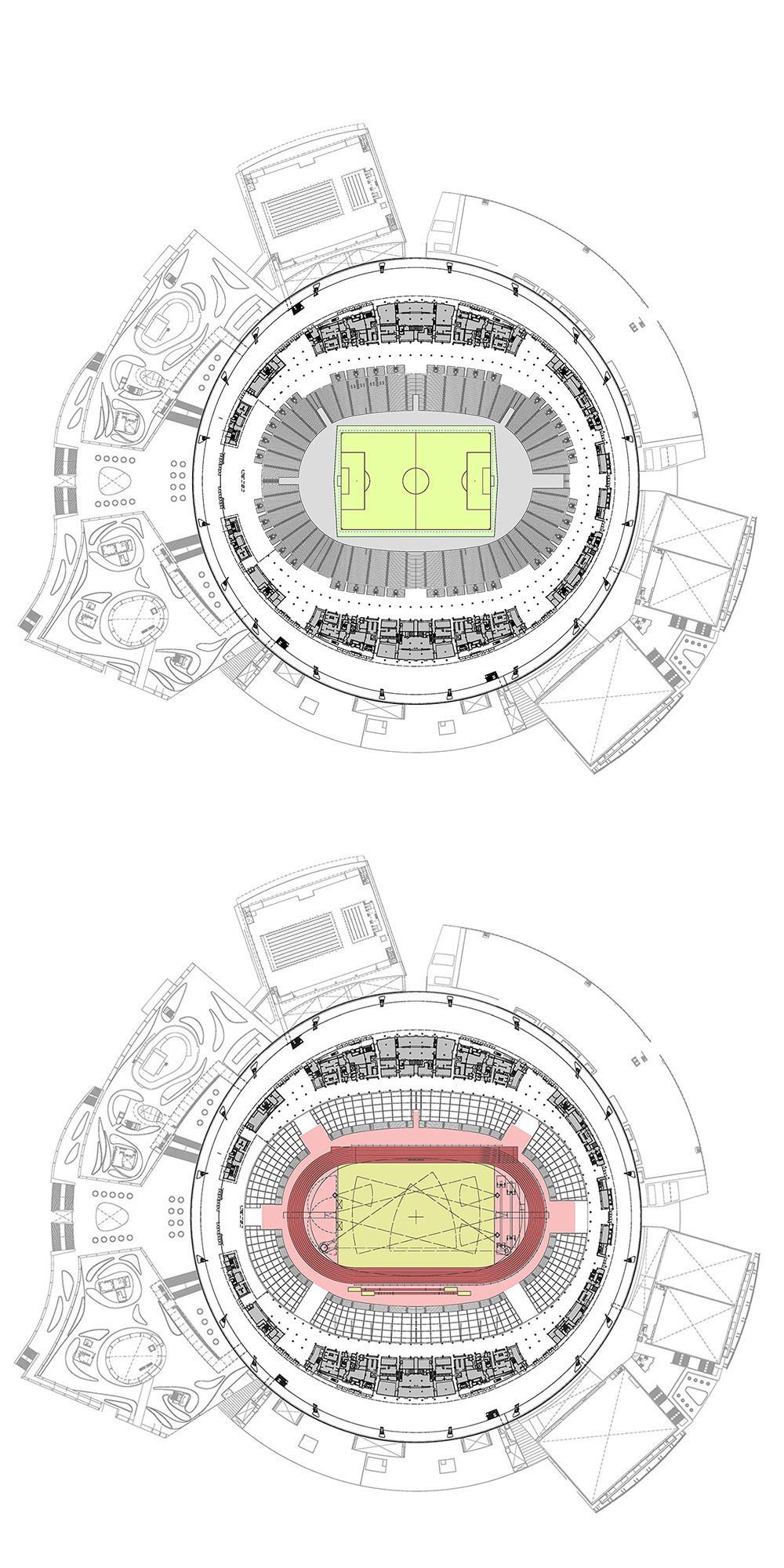Diseño dinámico - planta del estadio para atletismo y fútbol. Foto: Arup Associates