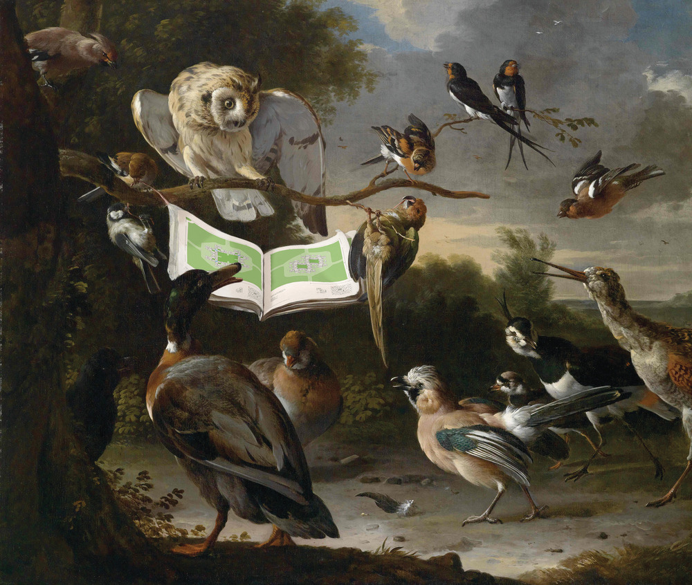 Keith Krumwiede, Birds Inspect the Plans of Freedomland, after The Concert of Birds, Melchior d'Hondecoeter, 1670 Foto: © Keith Krumwiede