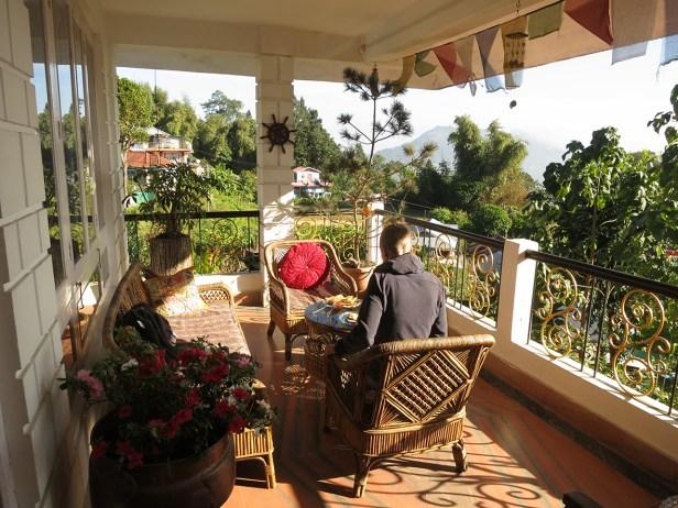 Unsere Frühstücksterrasse im Mansarover Guesthouse