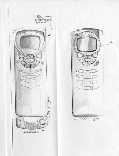 Design by industrial designer Panu Johansson. Sketch of Nokia 9210 Communicator.