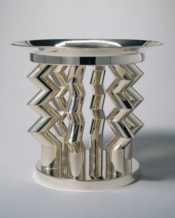 "Ettore Sottsass (1917-2007). ""Murmansk"" Fruit Dish. 1982 Silver. The Metropolitan Museum of Art, Gift of Ronald S. Kane, 1992 © Studio Ettore Sottsass Srl"