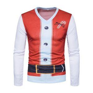 3D-gedrukte Grappige T-shirt Kerststijl Herenkleding Streetwear Herfst Lange Mouwen O-hals Shirts