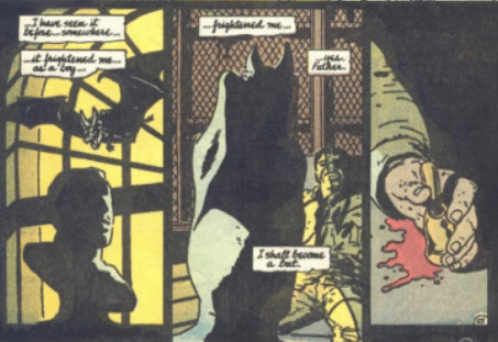 Fig. 10 Batman Year One (Part 1)[6]: Bruce displays qualities of a Rugged (post-modern) Individual by giving up his faith in societal institutions & developing his own stricter moral code and a separate belief system based on justice.