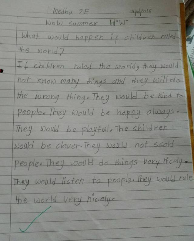 Medha's essay - if children ruled the world