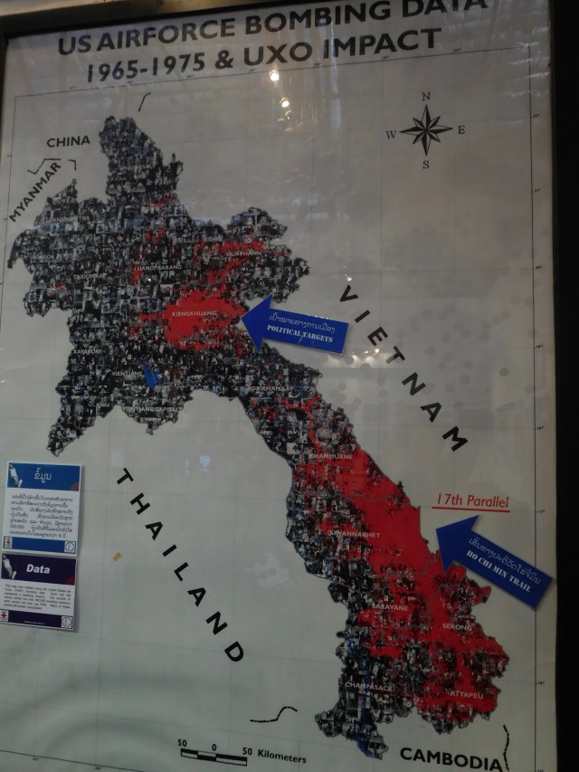 The map showing how Laos was bombed and the terribly sad statistics