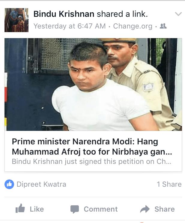 nirbhaya change.org fb link