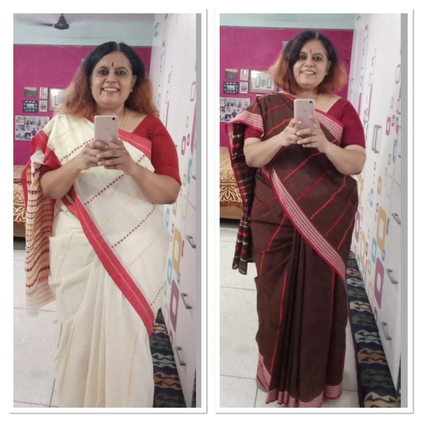 Begumpuri - Cream and Chocolate Brown