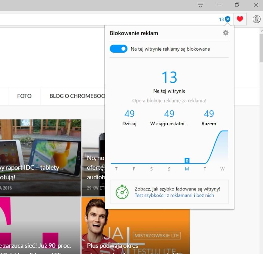 Opera blokuje u mnie na stronie głównej 13 reklam. Co to za cudowne rozmnożenie??? - 90sekund.pl