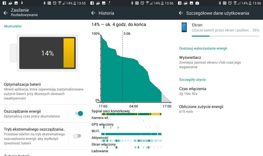 Przykładowy czas pracy na baterii w HTC 10 - recenzja 90sekund.pl