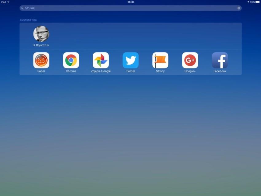 Siri uczy się tego, co z iPadem, i w jakich godzinach, robisz - zatem podsuwa Ci możliwe aplikacje i osoby do kontaktu, generowane na podstawie Twoich nawyków - 90sekund.pl