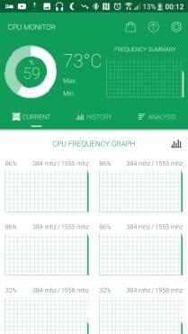 Temperatury pracy HTC 10 evo przy zwykłych zadaniach - 90sekund.pl