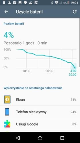 Sony Xperia XZ Premium - przykładowy czas pracy na jednym ładowaniu - 90sekund.pl
