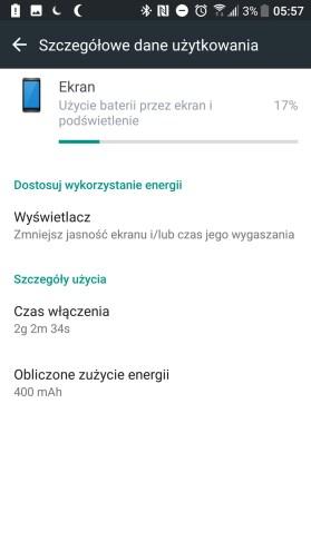 Przykładowy czas pracy na baterii w HTC U Ultra - recenzja 90sekund.pl