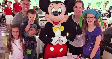 family standing Mickey mouse