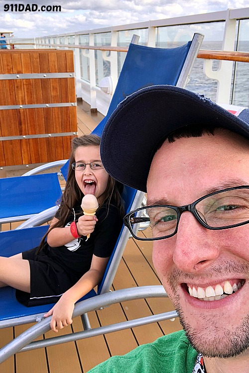 eating ice cream on a cruise deck