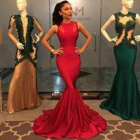 Long Red Mermaid Prom Dress 2016 Sexy O-neck Sleeveless ...