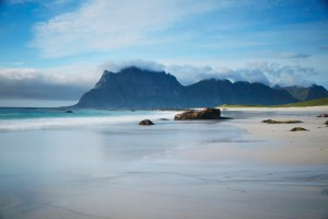 Picture of a White Beach with Mountains