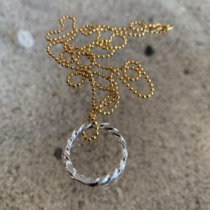 ICE Circle Necklace on Golden Silver BallChain