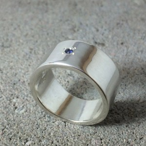 Engagement Ring Blue Sapphire & Silver