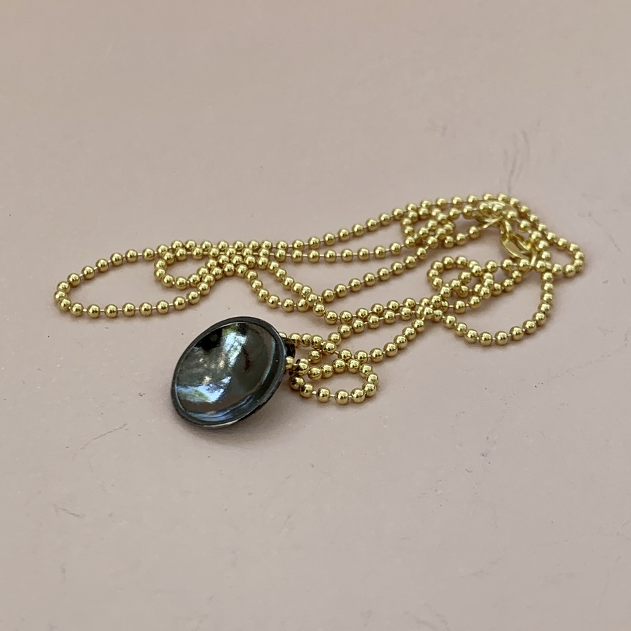Dots Necklace Rhodium Black on Gold Plated Ball Chain