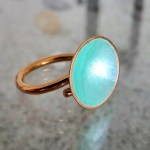 Dots Ring Turquoise Enamel & 14K Gold Plated
