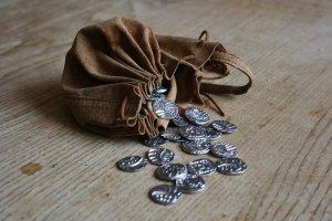 silver coins bag