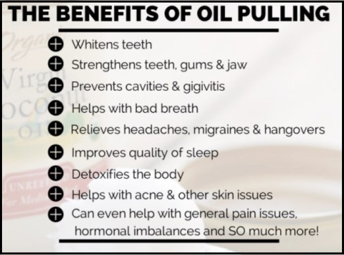 List of claimed benefits of oil pulling