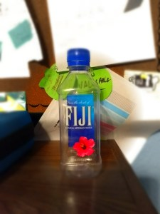 A Fiji water bottle filled with fresh Fuji air.