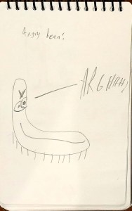 """A very creepy and angry looking bean. With a face. And an evil smile. Plus he;s screaming """"ARGHHHH!"""""""