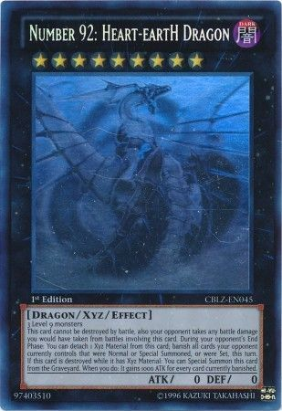 Number 92 Heart EartH Dragon CBLZ EN045 Ghost Rare 1st Edition Cosmo Blazer 1st Edition
