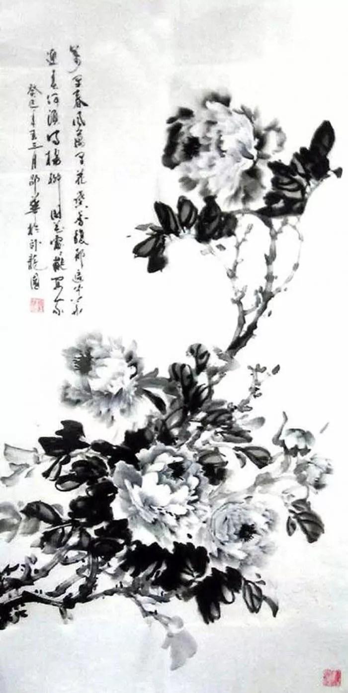 墨牡丹国画-花鸟( 邵华) - 全球邵氏宗亲网