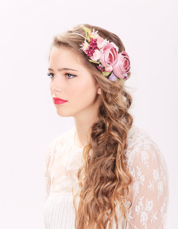 Bridal Flower Hair Crown, Woodland Wedding, Pink Flower