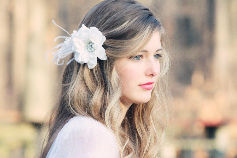 Bridal Hair Flower Fascinator, White Bridal Hair Clip