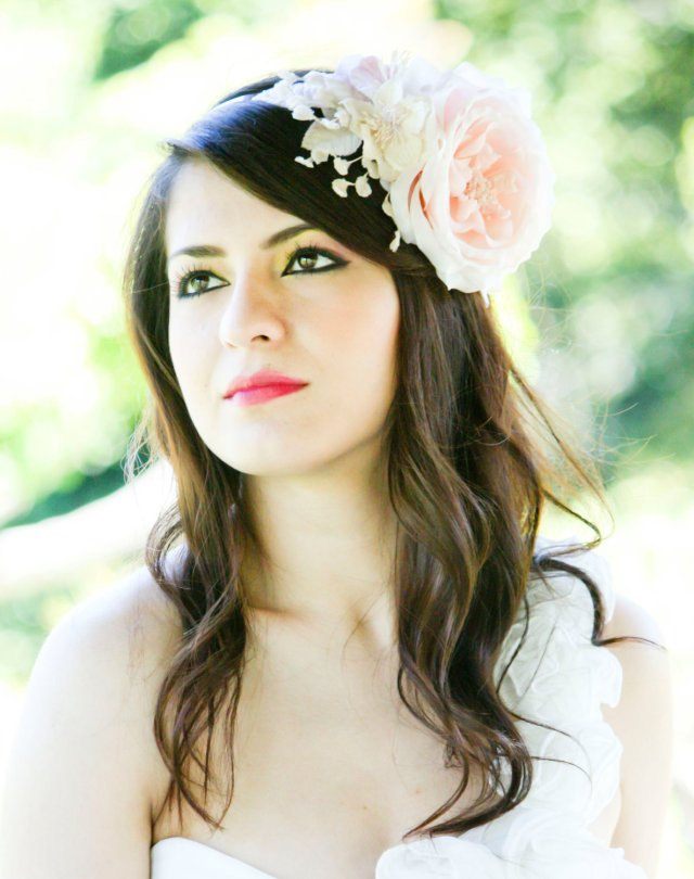 bridal hair accessories, wedding headpiece, pink flower fasinator, flower for hair