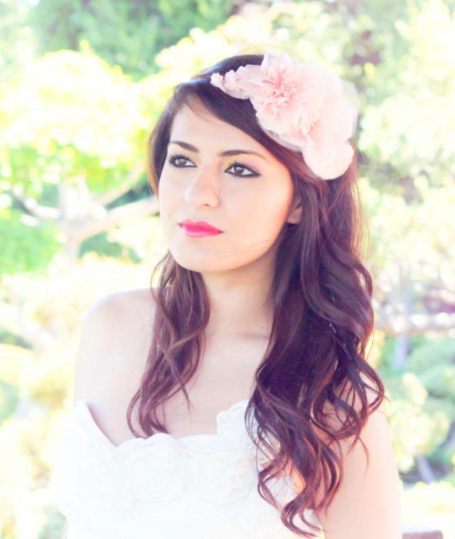 wedding hair accessories, bridal fascinator, wedding headpiece, petal pink silk flower