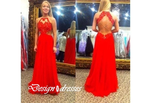 Custom Made Red Halter Neck Sexy Lace Backless Prom