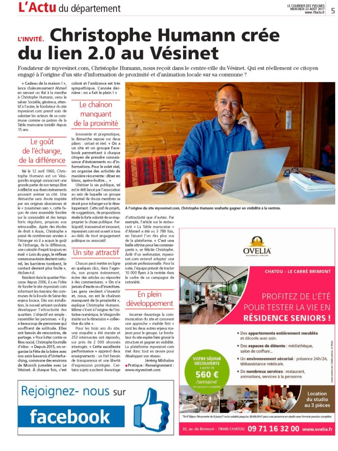 Myvesinet.com dans le Courrier des Yvelines !