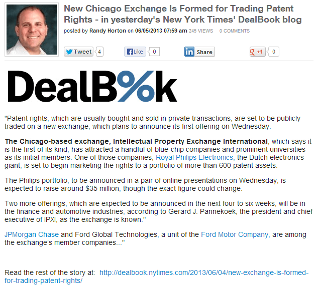 Patent Exchange website posting